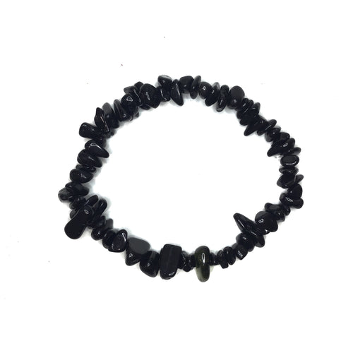 Black Obsidian Gemstone Chips Bracelet - Gina's Charms