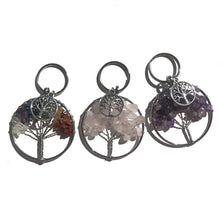 Load image into Gallery viewer, Rose Quartz Tree of Life Keychain