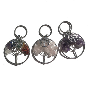 Rose Quartz Tree of Life Keychain