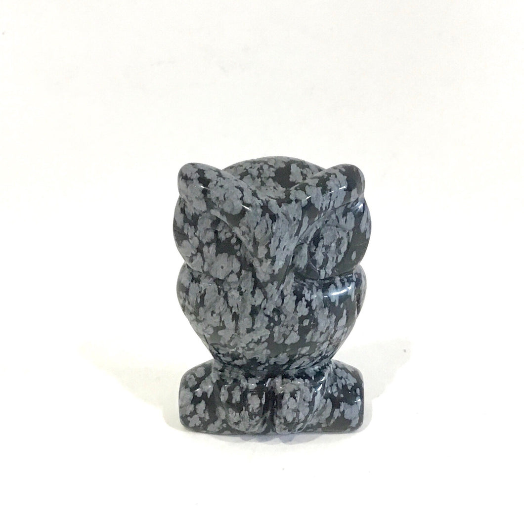 Crystal OWL Carving - Snowflake Obsidian #328