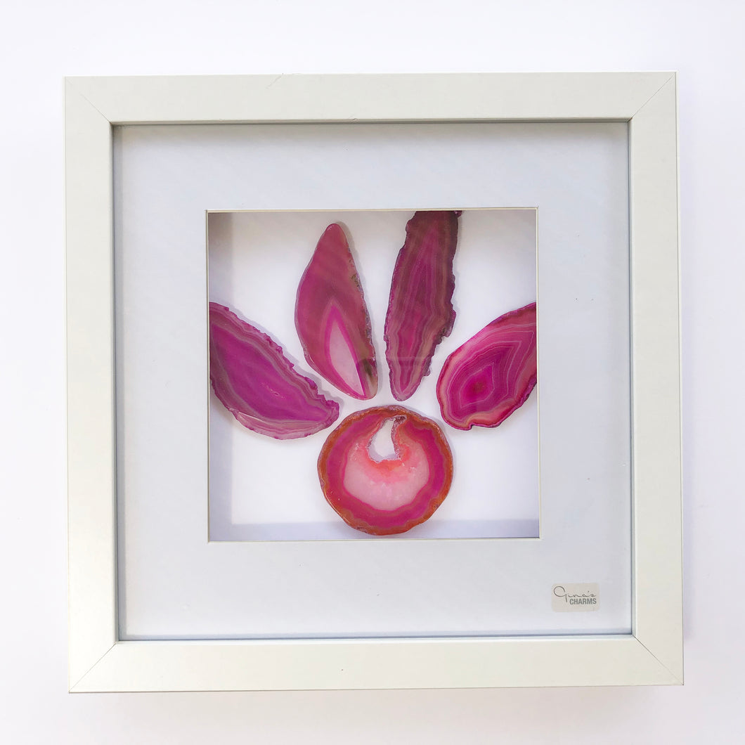 Framed Agate Slice Art - Pink Paw #2