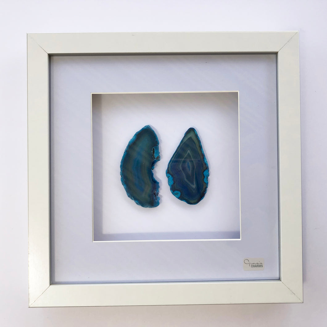 Framed Agate Slice Art - Blue Turquoise #7