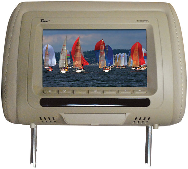 "Tview 7"" In Headrest Monitor with DVD Player Built in Speakers Remote Tan"