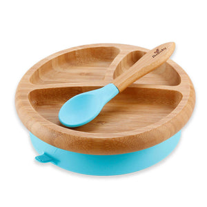 Avanchy Baby Bamboo Stay Put Suction Plate and Spoon - Blue