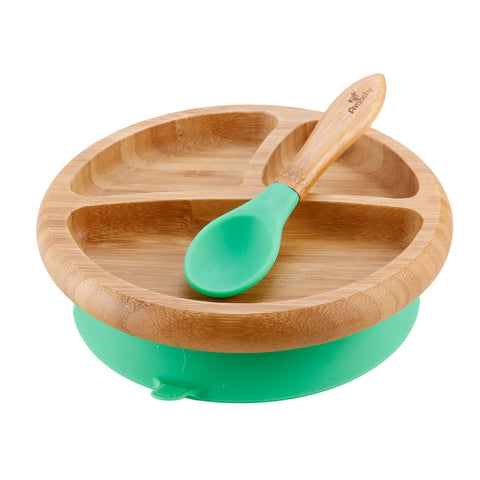 Avanchy Baby Bamboo Stay Put Suction Plate and Spoon - Green