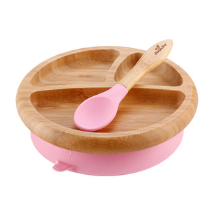 Avanchy Baby Bamboo Stay Put Suction Plate and Spoon - Pink