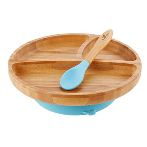 Avanchy Toddler Bamboo Stay Put Suction Plate and Spoon - Blue