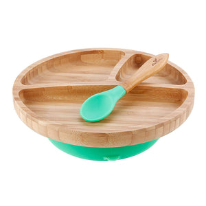 Avanchy Toddler Bamboo Stay Put Suction Plate and Spoon - Green