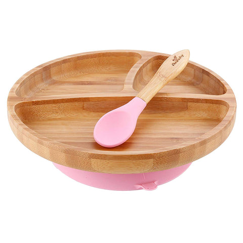 Avanchy Toddler Bamboo Stay Put Suction Plate and Spoon - Pink