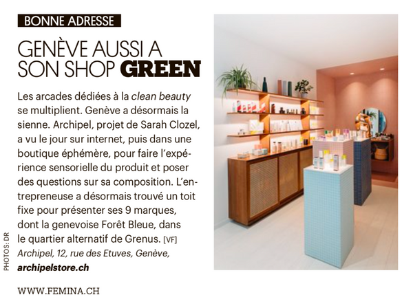 Article Archipel clean beauty, green shop, Femina