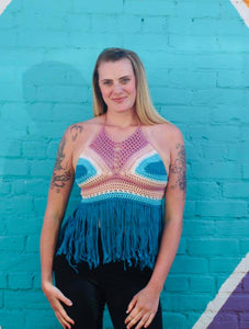 Beach Crochet Fringe Halter Top