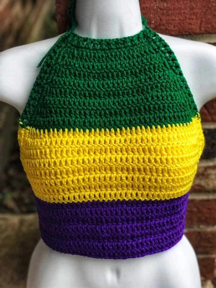 Longer Mardi Gras Halter   | Adult Solid Halter Top