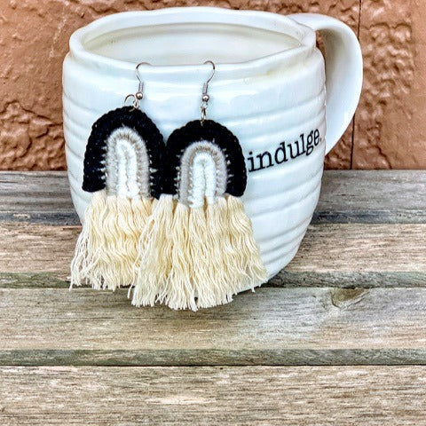 Black Rainbow Tassel Earrings