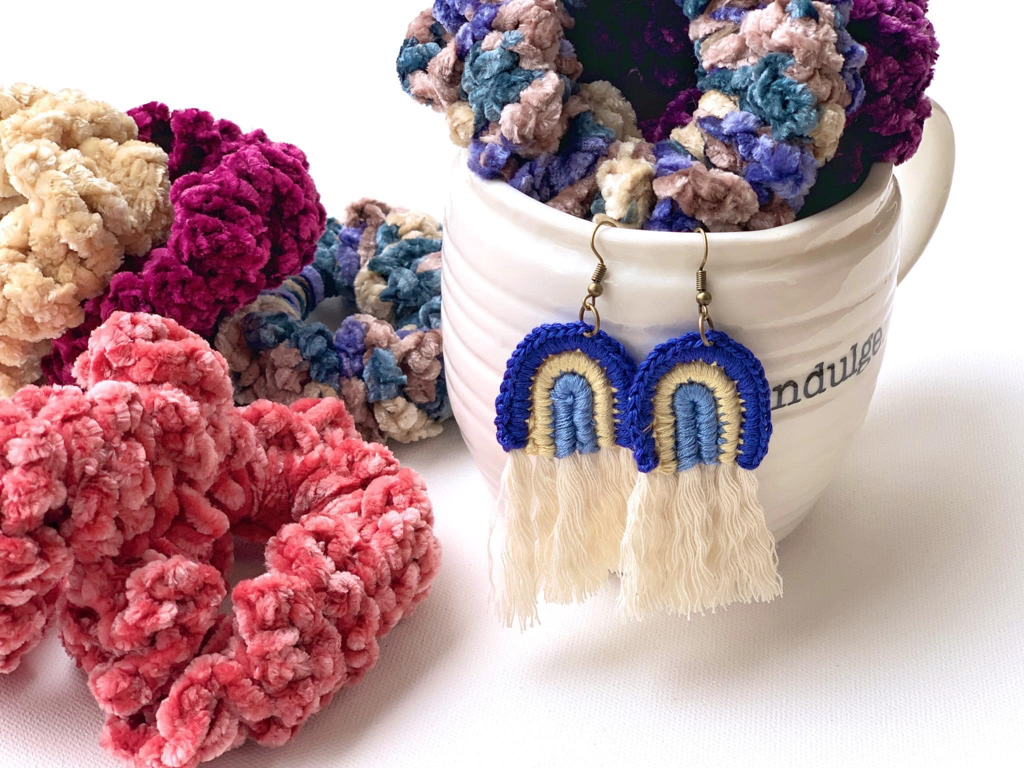 Blue Rainbow   Tassel Earrings