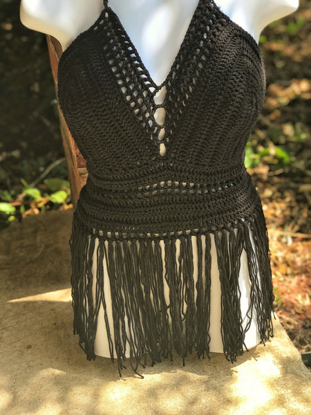 Black Fringe Halter Top