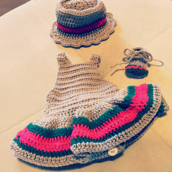 Baby Girl Crochet Dress, Hat and Sandals