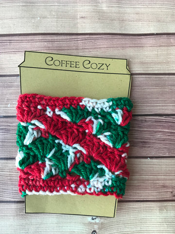 Holiday stripe coffee cozy