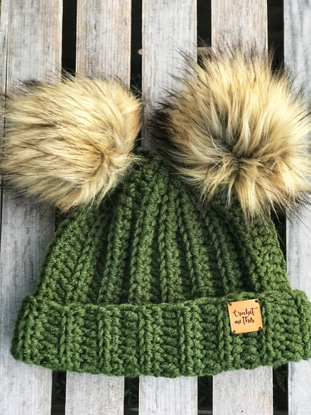Ribbed double Pom Pom beanie
