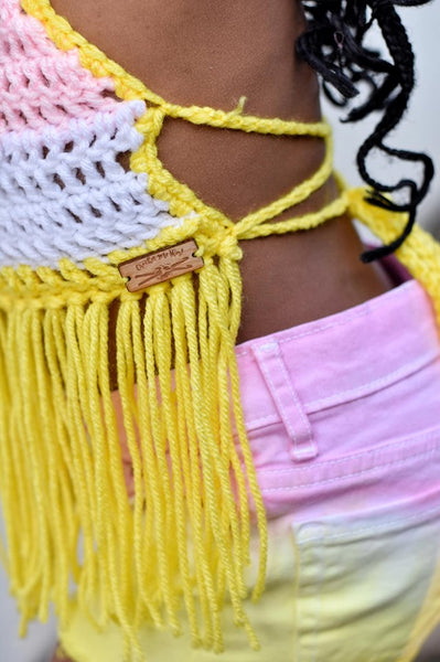 Pink Lemonade Crochet Fringe Halter Top
