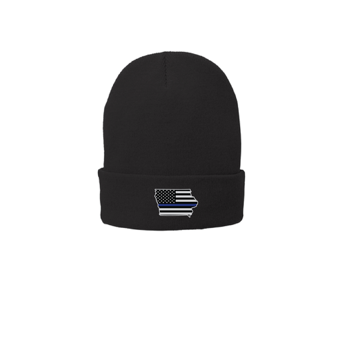 Iowa Shaped Police Flag Emblem - Beanie