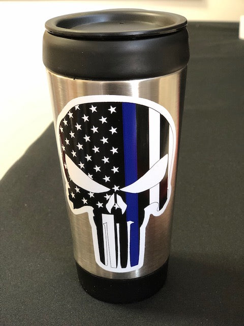 Stainless Steel Tumbler with Skull Decal