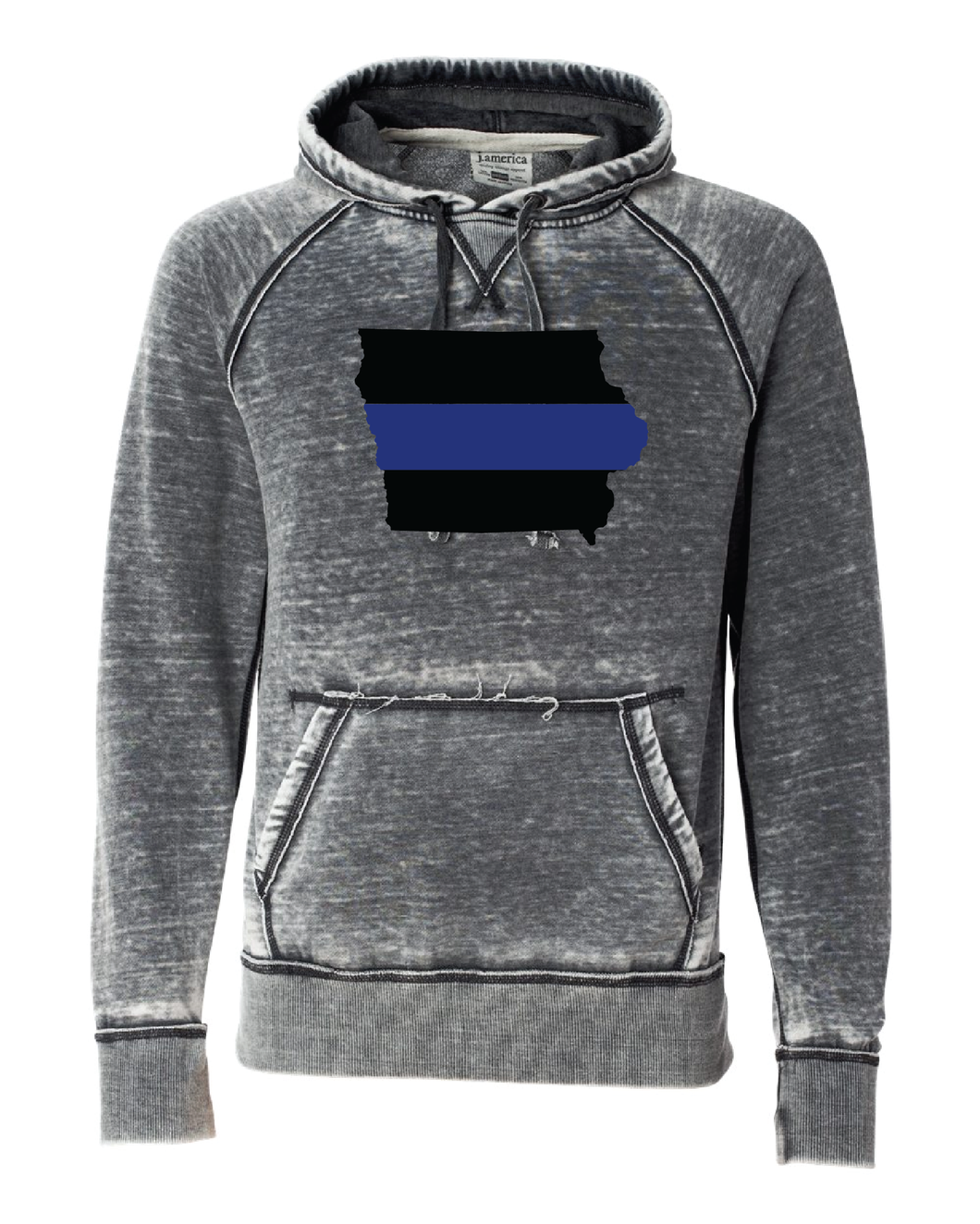 J.AMERICA Vintage Zen Hoodie with State of Iowa and Blue Line