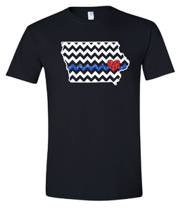 """IOWA CHEVRON with Blue Line & Red Heart"" Tee"