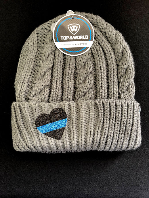 CLOSEOUT - Gray Knit Beanie with Heart/Blue Line