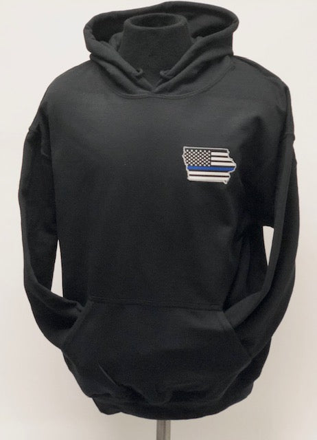 Iowa Flag Hoodie with or without a BADGE NUMBER