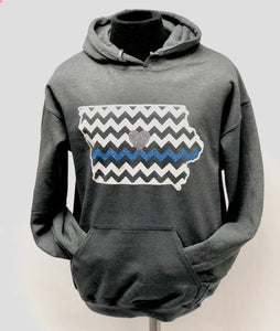 Chevron Iowa/Blue Glitter Line - Dark Heather Gray Hoodie