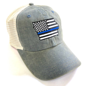 e8dafe141c332b CAP - Gray Washed Twill/Mesh with Iowa embroidered design