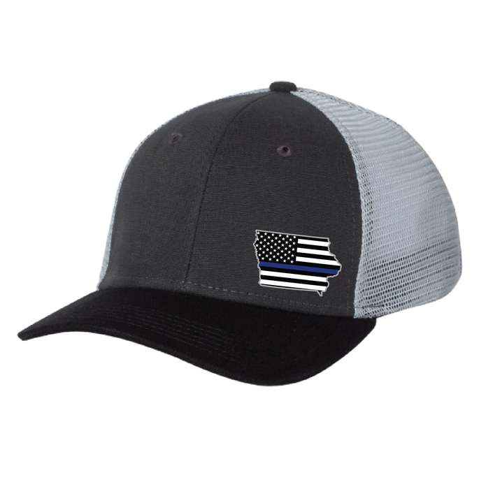 Cap - Trucker Mesh Style in Black/Grey with Iowa Emblem