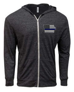 Light Weight Full Zip Unisex Hoodie with Iowa Flag/Blue Line