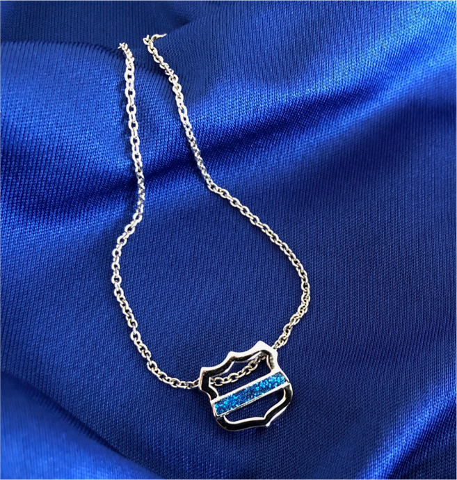 Thin Blue Line Necklace with Open Shield and Blue Glitter Line FREE SHIPPING
