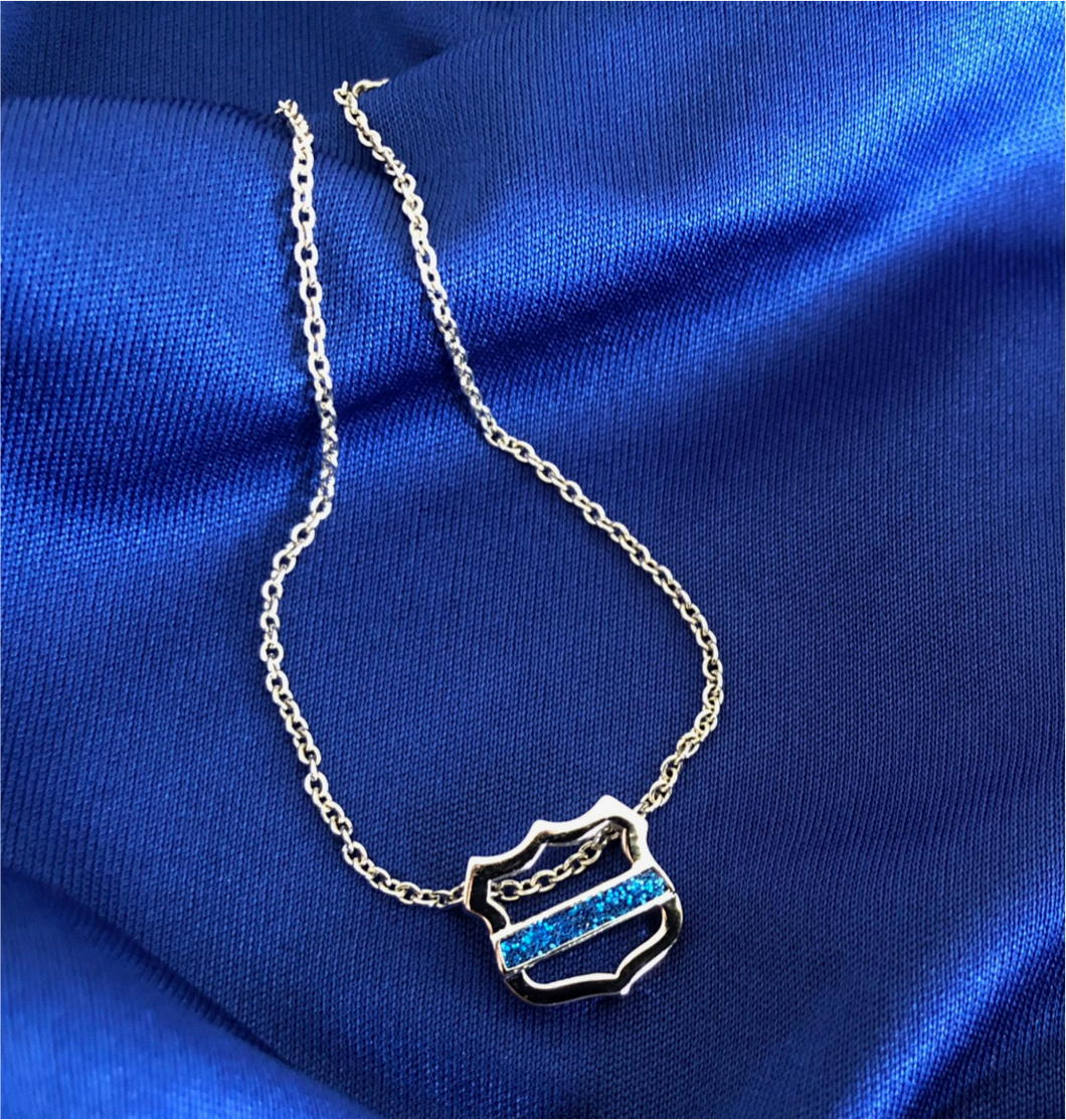 Thin Blue Line Necklace with Open Shield and Blue Glitter Line