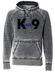 K-9 with Badge Number - Vintage Zen Hooded Sweatshirt