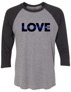 Z - 3/4 Sleeve Tri-blend Raglan - LOVE with Blue Line with or without badge number