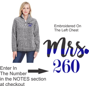 Sherpa Quarter Zip with Mrs. (Badge Number)