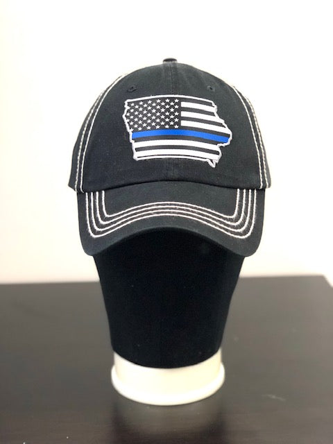Cap with Reverse Top Stitch and Iowa Emblem