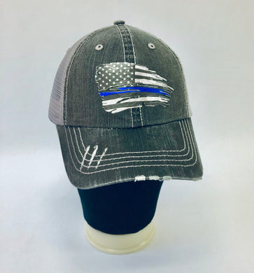 CAP - Distressed Trucker w/liquid metal flag