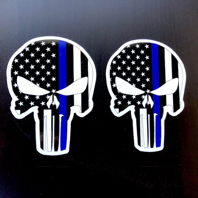 Skull/Flag/Thin Blue Line Vinyl Decal