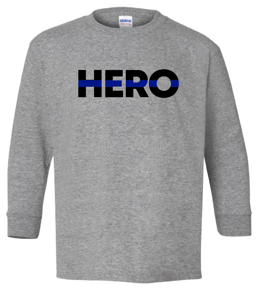 YOUTH - HERO with Blue Line (with or without badge number) - Long Sleeve T-shirt