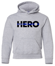 YOUTH - HERO with Blue Line (with or without badge number) - Hooded Sweatshirt