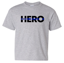 YOUTH - HERO with Blue Line (with or without badge number) - Short Sleeve T-shirt