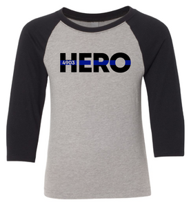 YOUTH - HERO with Blue Line (with or without badge number) - 3/4 Sleeve Raglan Tee