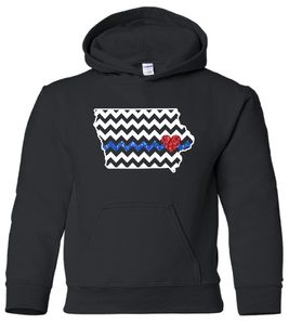 YOUTH - IOWA CHEVRON with Blue Line & Red Heart - Hooded Sweatshirt