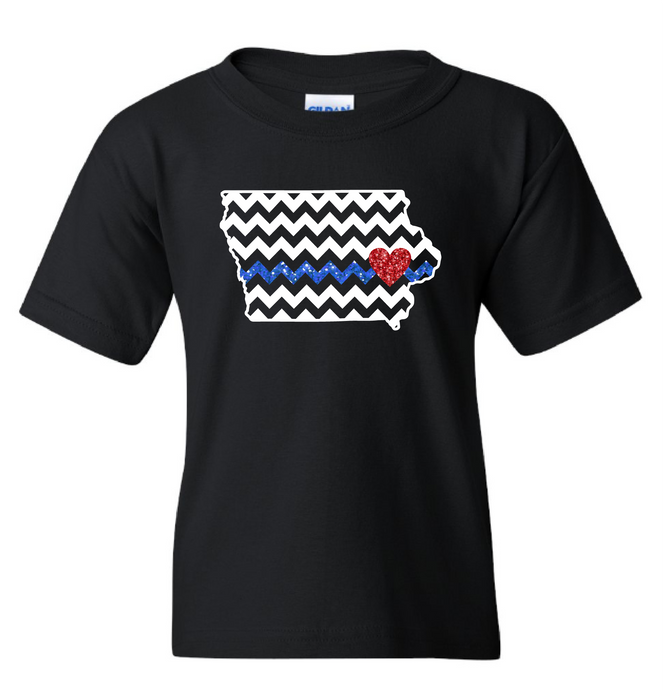 YOUTH - IOWA CHEVRON with Blue Line & Red Heart - Short Sleeve T-shirt