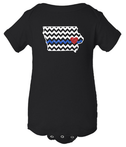 YOUTH - IOWA CHEVRON with Blue Line & Red Heart - Infant Bodysuit