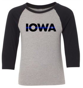 YOUTH - IOWA with Blue Line (with or without badge number) - 3/4 Sleeve Raglan Tee