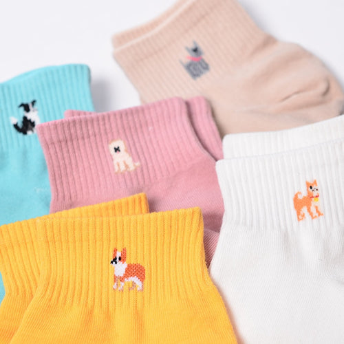 Fashion Candy Color Kawaii  Cute Dog Women/Girl  Cotton Socks - Great Dog Shop